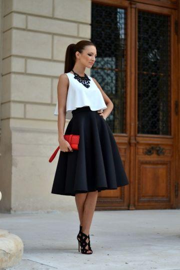 jupe noire haut blanc tenue mariage