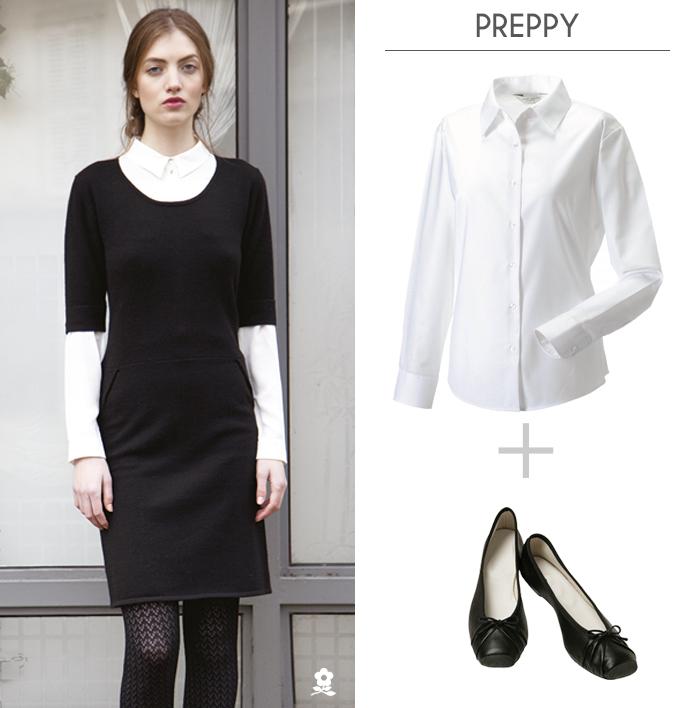 petite robe noire look preppy