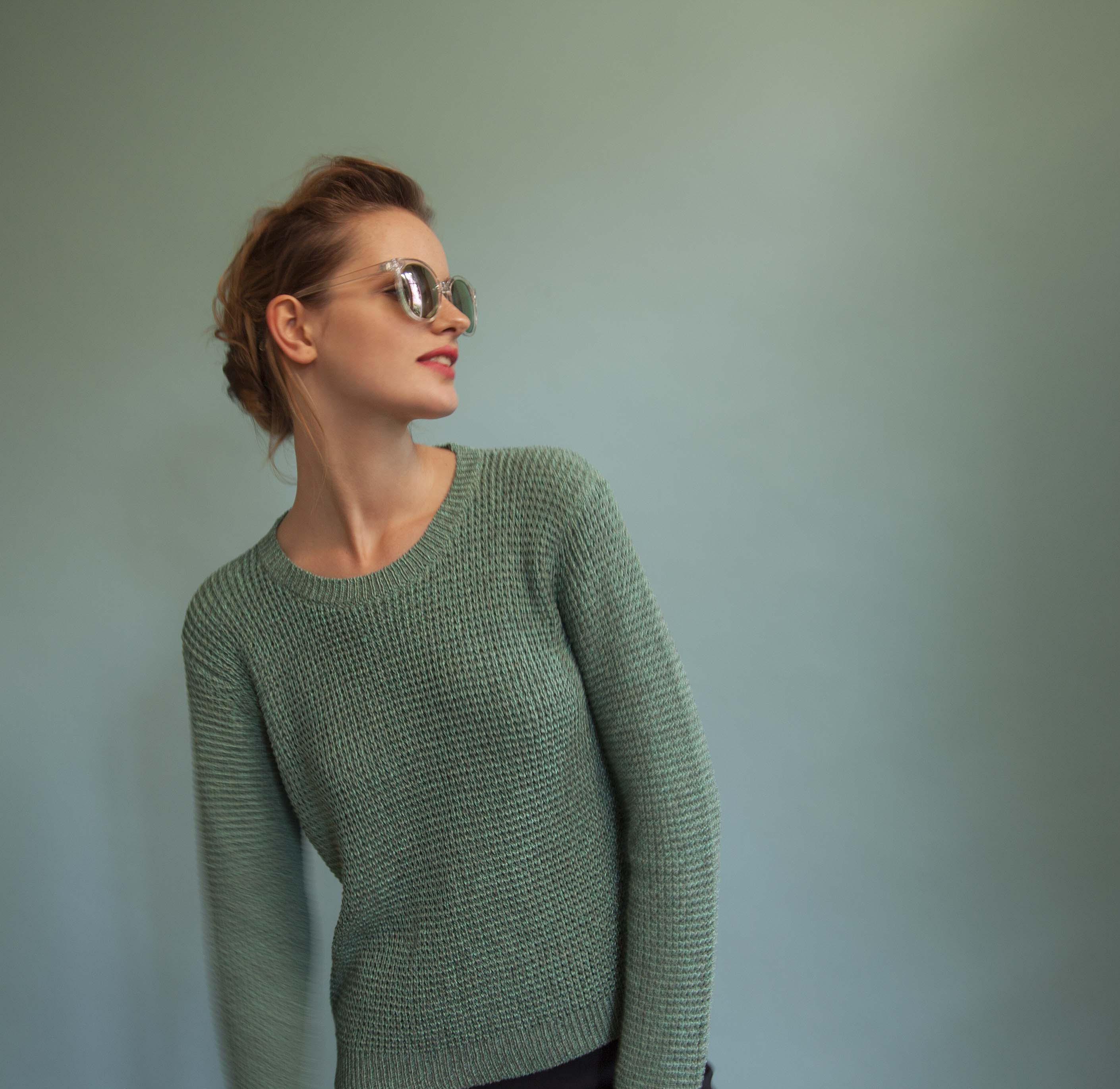pull pour femme vert irisé coton Lux White