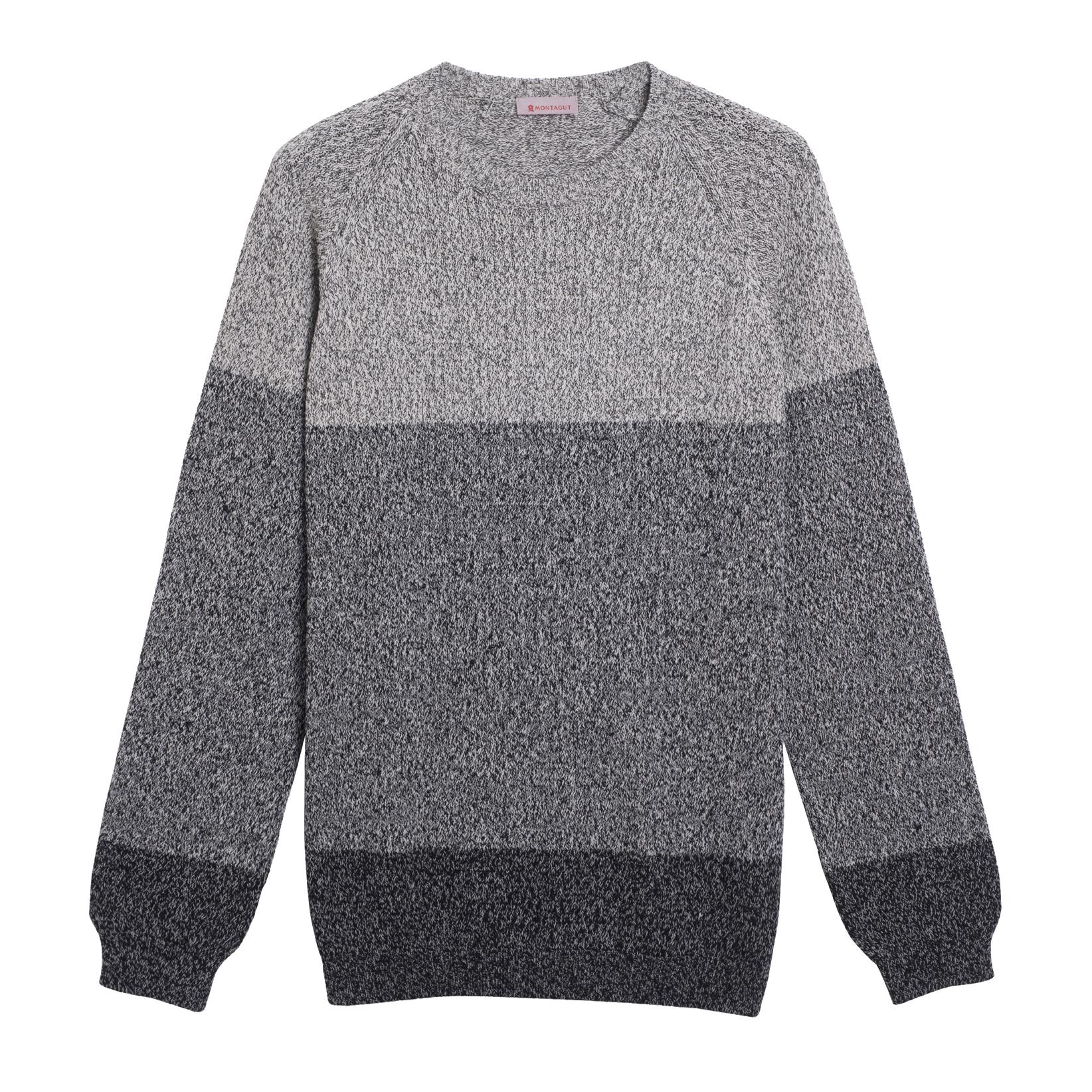 pull tricolore gris coton chiné