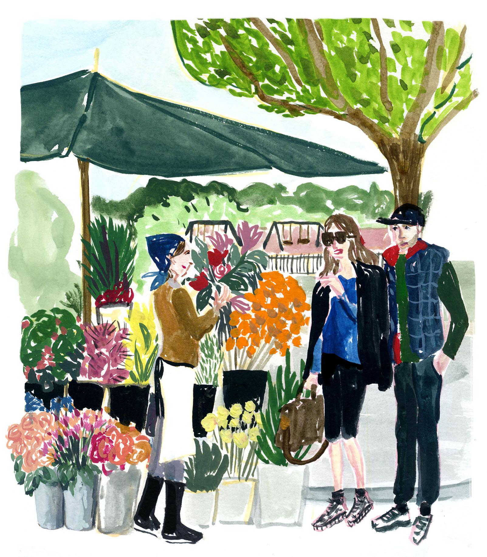 dessin vendeur de fleurs Cassandre Montoriol