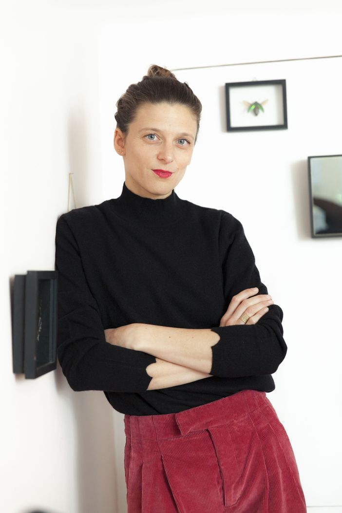 Charlotte Balme with Montagut cashmere pullover Wagram